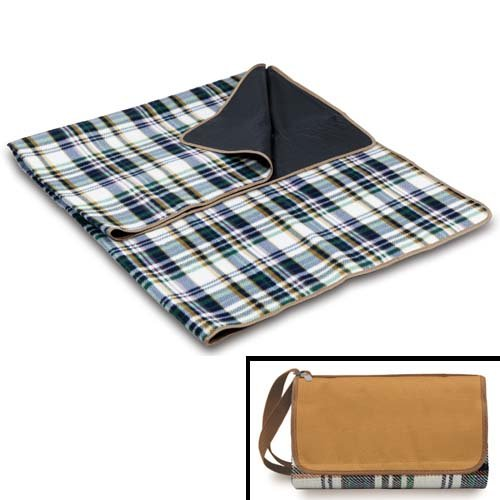 Picnic Time English Plaid Outdoor Blanket Tote front-87005