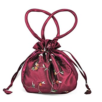 tinxs Wine Red Embroidered Dolly Bag - Fabulous Evening Wedding Bridal Bag