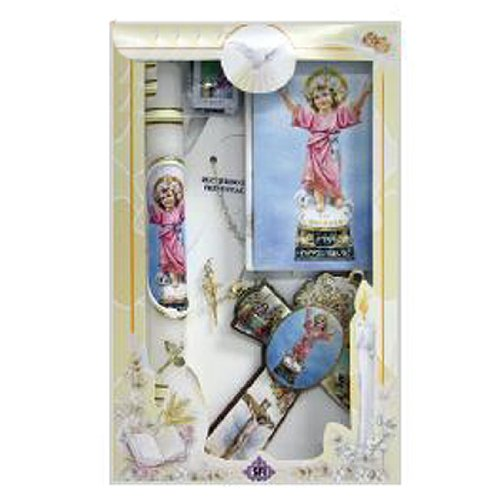 Girl's 3 Year Presentation Set in Spanish - Divine Child with Candle, Rosary, and Cross