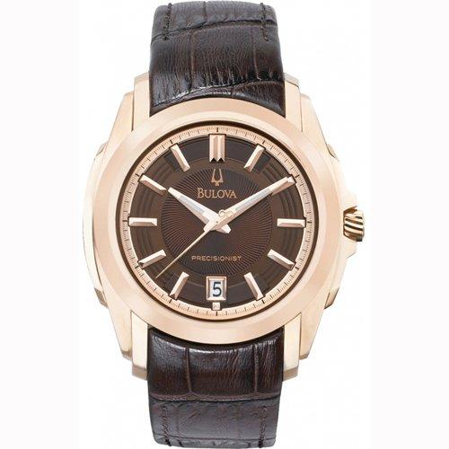 Bulova Men'S 97B110 Precisionist Rose-Tone Brown Leather Watch