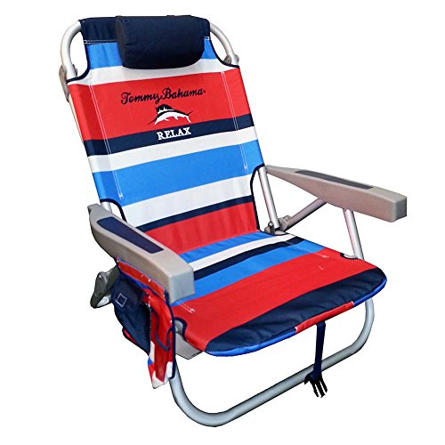 Tommy Bahama 2015 Backpack Cooler Chair with Storage Pouch and Towel Bar- red/blue