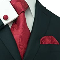 Landisun 104 True Red Paisleys Mens Silk Tie Set: Tie+Hanky+Cufflinks Exclusive