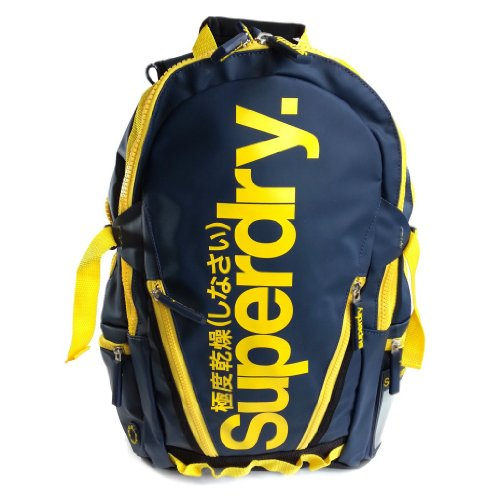 Zaino Scuola Tempo Libero Superdry Tarp Pop Zip Navy Yellow - US9IG075F1/NY