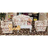 Dollhouse Miniature Living Room Furniture Sofa Set 4 Couch with Little Flowers