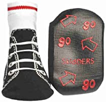 "Skidders ""Sneaker Lces"" Indoor Slipper socks (sizes 6M - 24M) - black, 12 months"