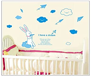 OneHouse I Have A Dream Quote White Rabbit with Cloud and Paper Planes DIY Wall Decal Decor Stickers from OneHouse