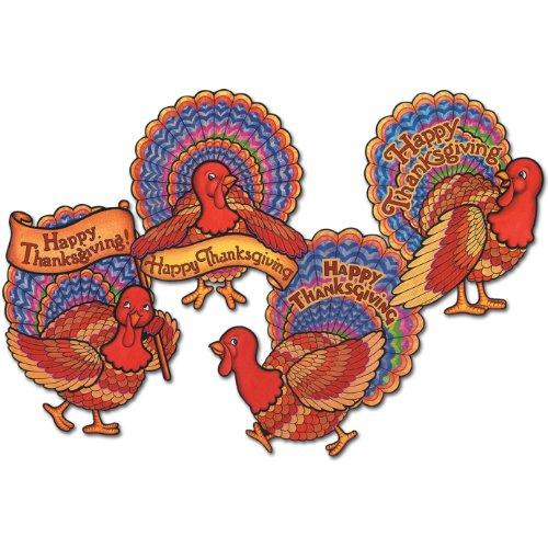 Pkgd Happy Thanksgiving Turkeys   (4/Pkg) - 1