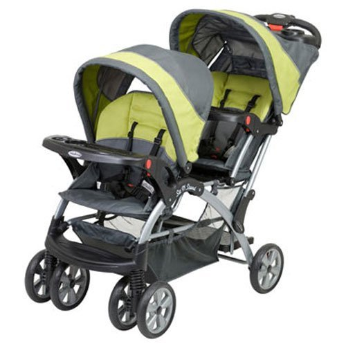 Baby Trend - Sit N Stand Double Stroller, Features 5-point Child Restraint Safety Harness, Covered Parent Tray in Carbon