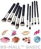 BS-MALL(TM) Premium Synthetic Kabuki Makeup Brush Set Cosmetics Foundation Blending Blush Eyeliner Face Powder Brush Makeup Brush Kit(10pcs, Silver Black)