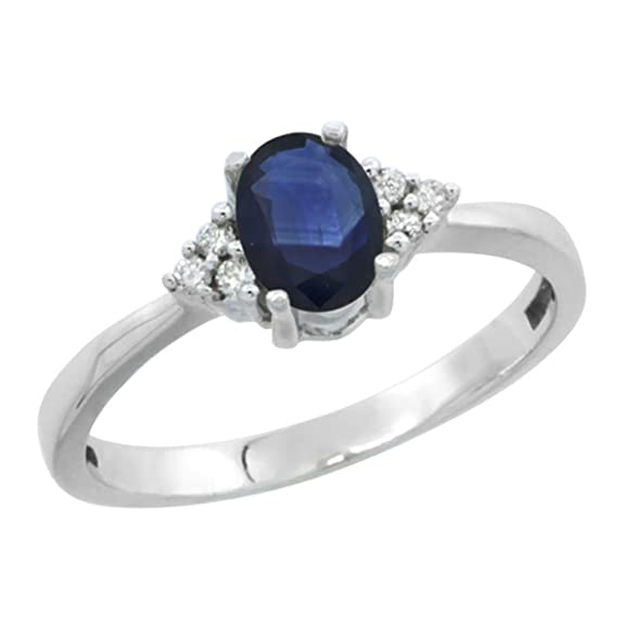 Revoni 14ct White Gold Natural High Quality Blue Sapphire Ring Oval 6x4mm Diamond Accent