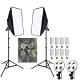8pcs 24w LED E27 Bulb Photo Stuido Soft Box Set Video Lighting Kit Flash Softbox Reflector Material 2ps Softbox 2ps Light Stand (Color: Black, Tamaño: 2meter stand, 50x70cm softbox)