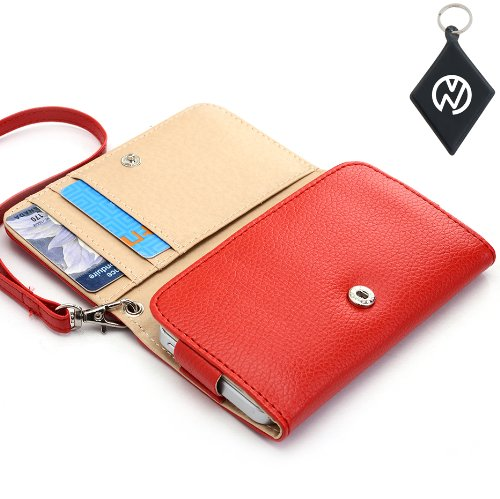 LG Motion 4G MS770 Wristlet Wallet Clutch w/Built-In Card Compartments NuVur ™- RED (Lg Ms770 Cover compare prices)