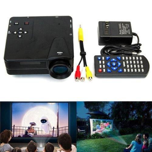 Aometech Black Home Cinema Theater Multimedia Led Lcd Projector Pc Av Tv Vga Usb Hdmi