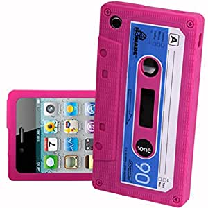 Pink Retro Cassette Silicone Case For iPhone 4 4G
