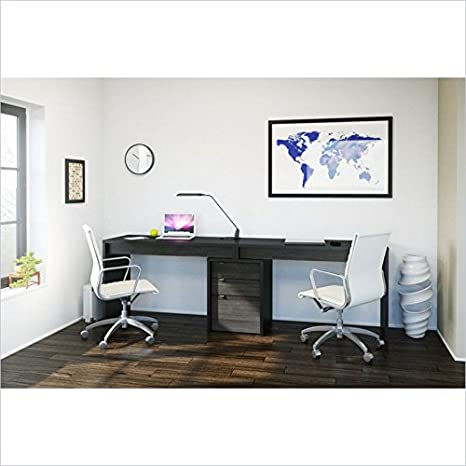 Nexera Sereni-T 3 Piece Office Set in Black and Ebony with Desk Panel