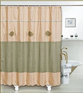 WPM Shower Curtain Beautiful Burgundy Gold Or Green Burgundy With Liner