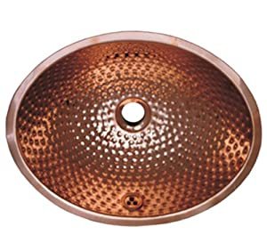 Whitehaus WH608CBM-PCO Oval 16-Inch Ball Pein Hammered Textured Undermount Basin with Overflow, Polished Copper