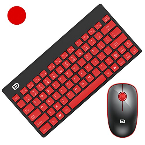 SROCKER G1500 2.4GHz Wireless Whisper-Quiet Portable Keyboard and Mouse Combo No Laser Light Mouse With 2-in-1 Nano Receiver for PC and Mac (Red) (Portable Pc Keyboard compare prices)
