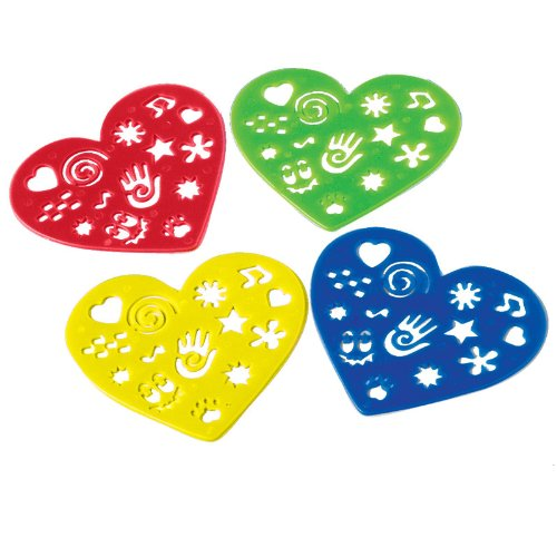 Lot Of 12 Assorted Color Heart Shaped Plastic Stencils