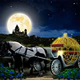 Photography Backdrop - Fantasy Coach with Large Moon - 10x10 Ft. - 100% Seamless Polyester