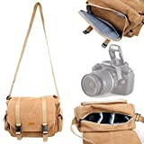 DURAGADGET Light Brown Canvas Carry Bag for Canon EOS Rebel T3, EOS Rebel T3i, EOS Rebel T4i, EOS Rebel T5, Rebel T5i, EOS SL1, EOS M, EOS 60D, EOS 60Da, EOS 70D, 7D & 6D - With Multiple Adjustable Storage Compartments and Long Shoulder Strap