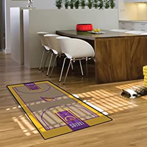 Buy Fanmats Home Indoor NBA Los Angeles Lakers Sports Team Logo Large Court Runner Mat Tailgating Accessory by Fanmats