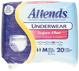 Attends Underwear Super Plus with Leakage Barriers, Medium, 80-count (Pack of 4,20pks)