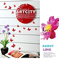 12 Pcs 3D Red Butterfly Purple Stickers Making Stickers Wall Stickers Wall Stickers / Wall Decors / Wall Art / Wall Decorations by auto
