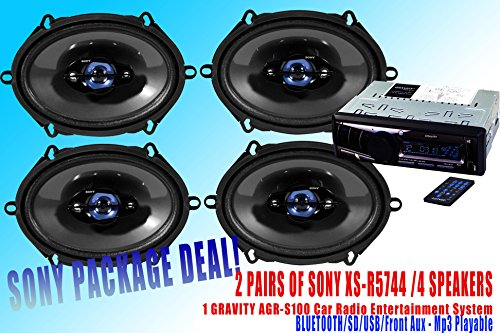 "Sony Packpage Deal! 2 Pairs Sony 5X7"" Xs-R5744 Car Speaker /4 Speakers + 300W Gravity Agr-S100 Car Stereo Receiver - Built-In Bluetooth/Sd/Usb/Front Aux - Mp3 Playable"