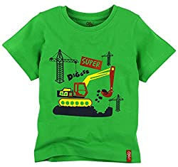 Oye Boys Half Sleeves Tee with Chest Print - Poison Green (1-2Y)