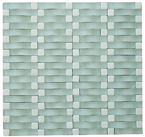 Chesapeake C8 Matt Stone Blend Random Arch 3D Wave Mesh-Mounted Glass Mosaic Tile, Aqua White