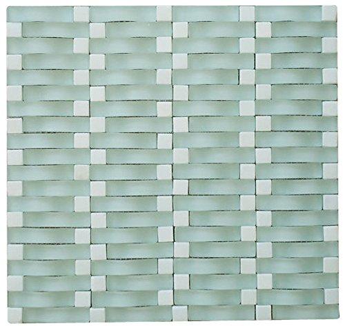 Chesapeake C8 Matt Stone Blend Random Arch 3D Wave Mesh-Mounted Glass Mosaic Tile, Aqua White