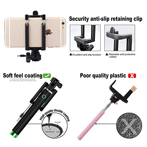 wired handheld monopod peres one piece u shape self portrait monopod extendable selfie stick. Black Bedroom Furniture Sets. Home Design Ideas