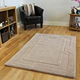Modern Plain Natural Beige Dense Anti Shed 100% Wool Carved Design Rug 3 Sizes Available Elements