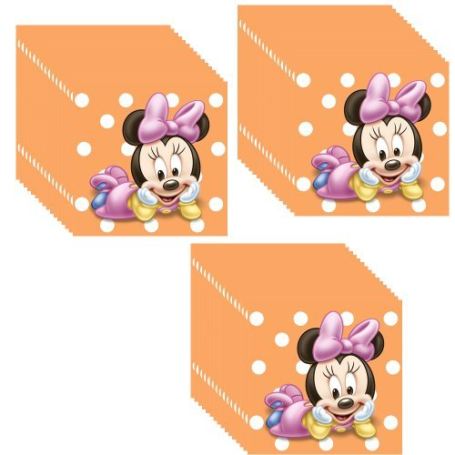 Disney Minnie Mouse Baby 1st Birthday Beverage Napkins - 3 Packs of 16 (48 Total Napkins) - 1