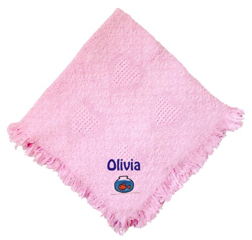 Fishbowl Pink 100% Cotton Custom Embroidered Personalized Baby Blanket Hot Pink Thread front-969198
