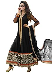 Fabboom New Fashion Latest Embroidery Long Black Anarkali Suits