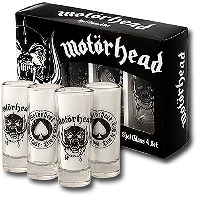 Motörhead - Rock Band Schnapsgläser Shotgläser 4er Set (England + Born to Lose Print) verpackt in einer Geschenkbox