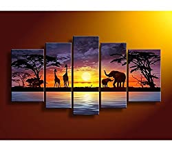 Cherish Art 100% Hand Painted Oil Paintings For Christmas Gifts Hot Sale For Promotions African Elephant Giraffe 5 Panels Wood Inside Framed Special Offer Selling Hanging Wall Decoration from Cherish Art
