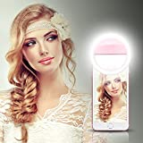 LONGKO 36 LED Selfie Ring Light Bulb Clip 3 Mode Illuminated Spotlight Night Lamp for iPhone 6/6S Android Cellphone iPad Tablet - Pink