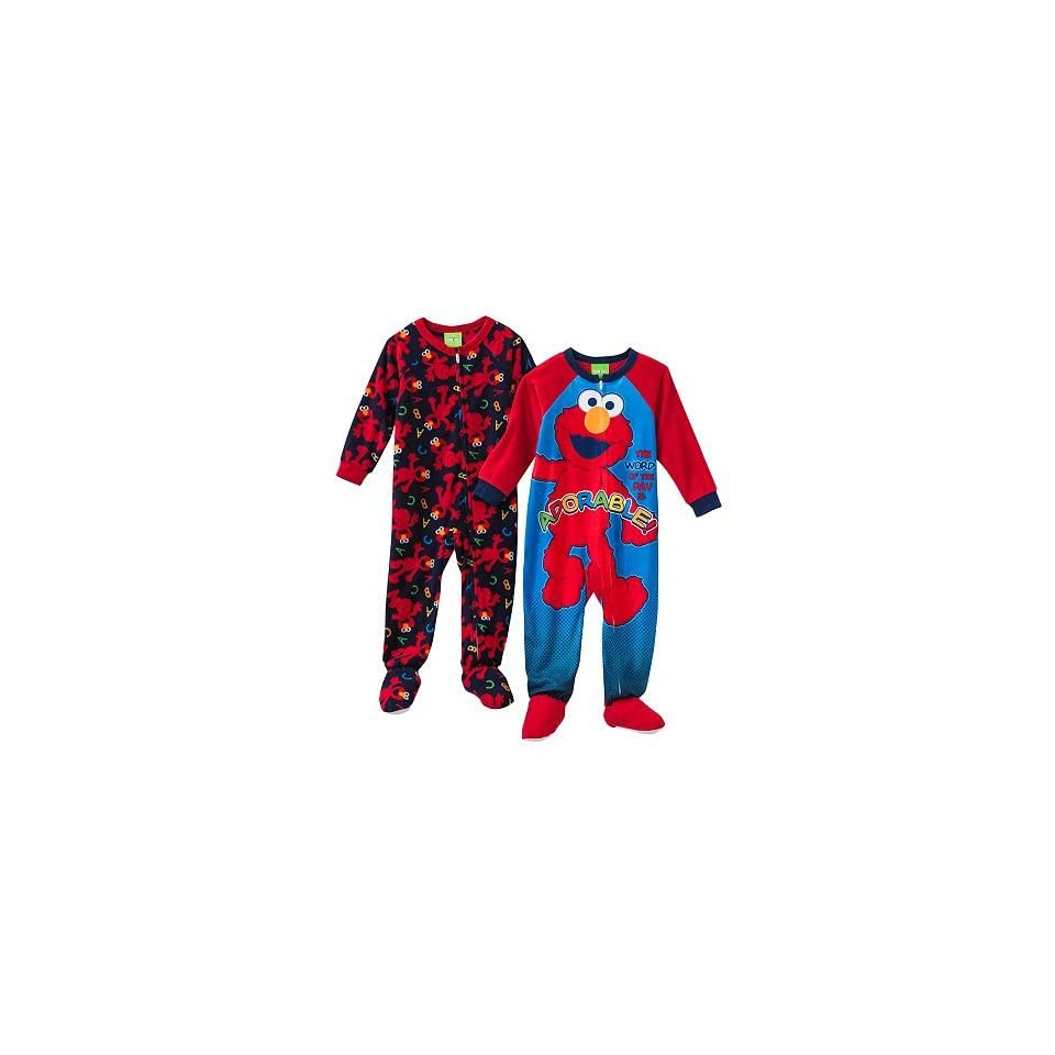 Sesame Street Adorable Elmo 2 pc Boys Footed Pajamas (4T