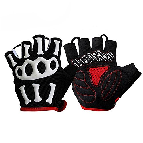 Top Cool Female/Male Specialized Fingerless Gym Workout Mtb Cycling Weight Lifting Gym Mountaineering BMX Motorcycle Bicycle Climbing Jogging Tactical Skull Gel Padded Glove Ghost Claw (black, L) (Roc Thermal compare prices)