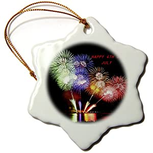 3dRose orn_53263_1 Happy 4th of July Snowflake Porcelain Ornament, 3-Inch