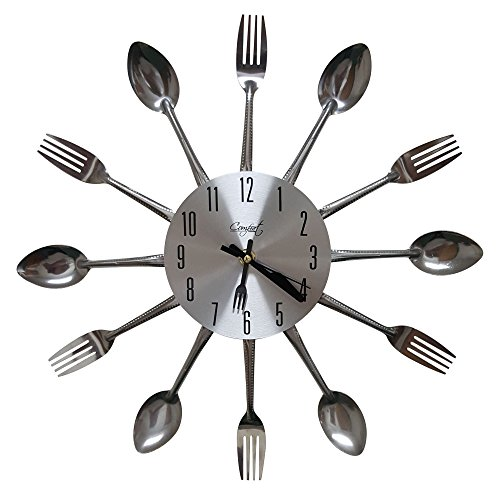 Comfort Home Cutlery Kitchen Spoon & Fork Decorative Wall Clock, Sliver (Kitchen Wall Spoon And Fork compare prices)