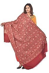 Weavers Villa - Women's Maroon Jamdani Designer Shawls , Stoles