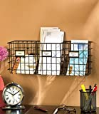 Industrial Wire Organizer Basket - Hang on Wall or Sit on Counter