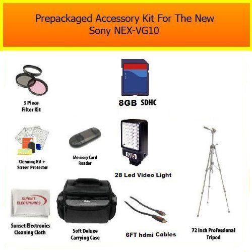 Professional Sony NEX-VG10, NEX-VG20, NEX-VG30 Ultimate 8GB Accessory Package Kit Includes 8GB High Speed Memory Card, Card Reader, Professional LED Video Light, 72 Inch Pro Tripod, Extra Large Carrying Case, 8 Hour Extended Life FV100 Batery Pack, Rapid AC/DC Charger, 67MM Pro HD Filter Kit, HDMI Cables + More