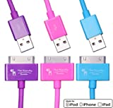 Certified By Apple – Lifetime Warranty – Bundle of 3 Extra Long Extra Thick 6.5 Feet MFi USB Charger Cables for Apple iPhone 4, 4s, 3gs, 3g iPod touch 1, 2, 3, 4, iPad 1, 2, 3 – for Sync and Charging – Premium MFi Quality (Pink + Purple + Blue) Reviews