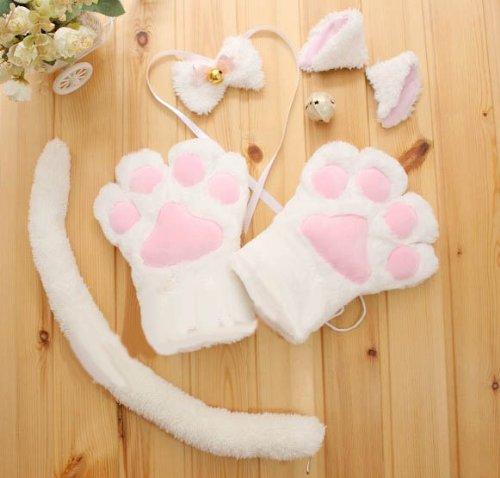萌え萌えにゃんこセット 猫耳 しっぽコスプレセット  白  コスプレ小物