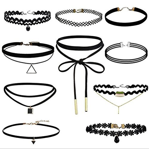 10 Pcs Choker Necklace for Women Girls, Black Classic Velvet Stretch Gothic Tattoo Lace by Elegant Rose